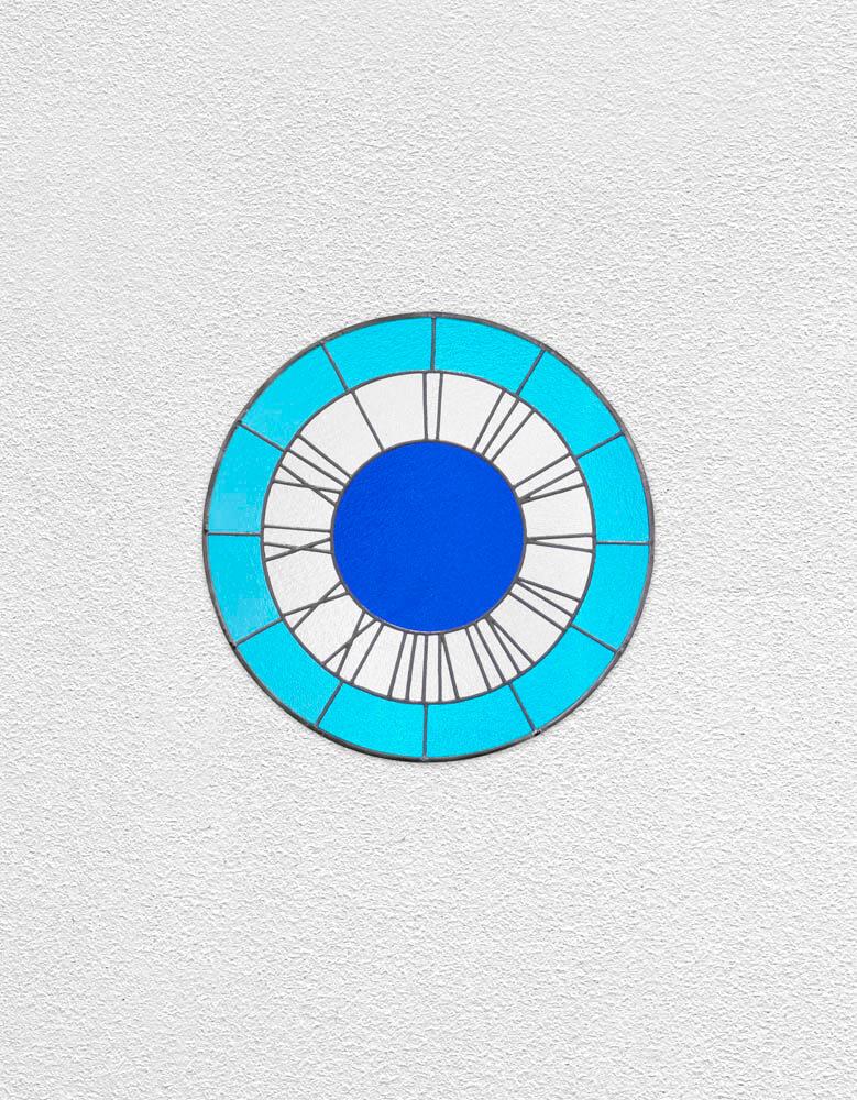 blue white blue clock | UGO RONDINONE