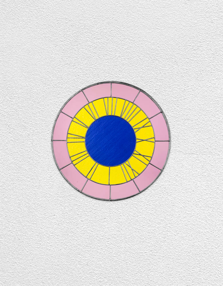 pink yellow blue clock | UGO RONDINONE