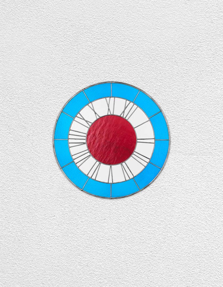 blue white red clock | UGO RONDINONE