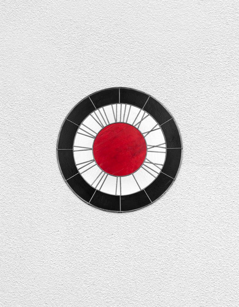 black white red clock   UGO RONDINONE
