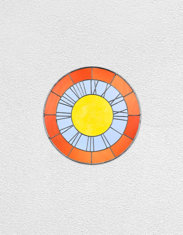 orange blue yellow clock | UGO RONDINONE