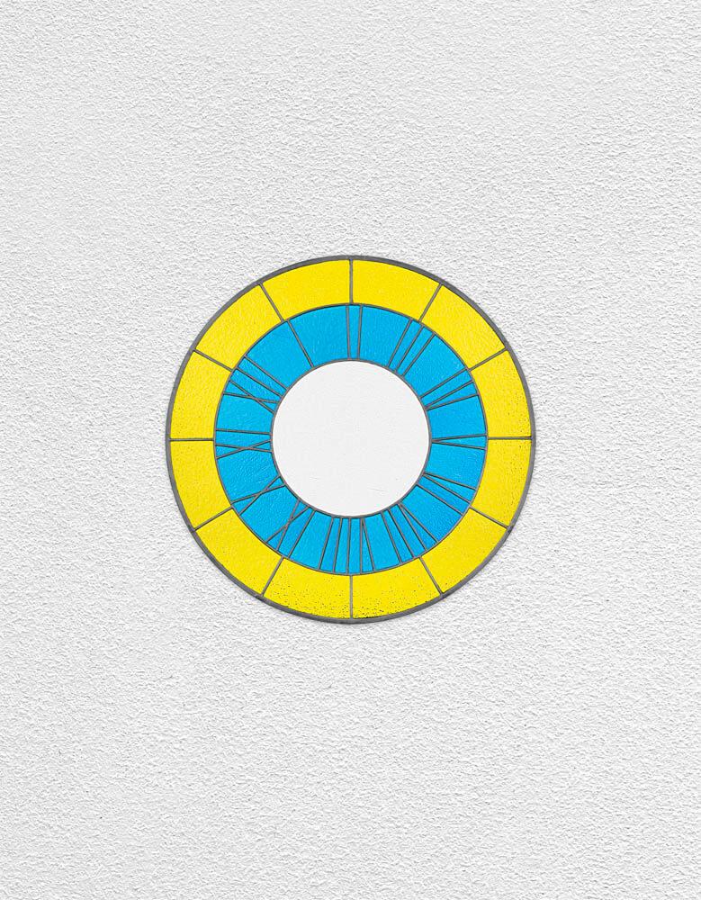 yellow blue white clock | UGO RONDINONE