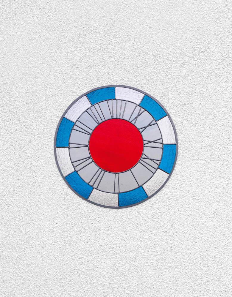 blue white gray red clock | UGO RONDINONE