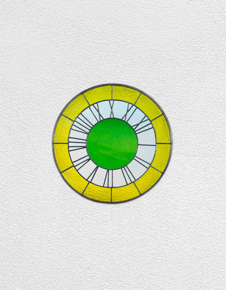 yellow white green clock | UGO RONDINONE