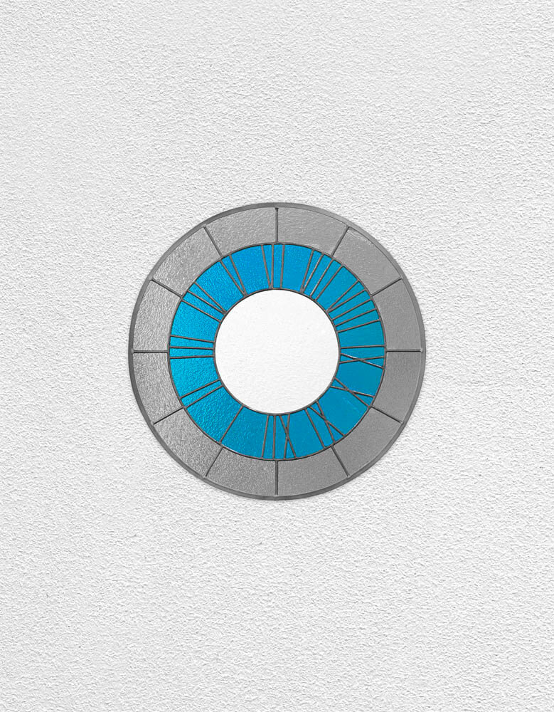 gray blue white clock | UGO RONDINONE