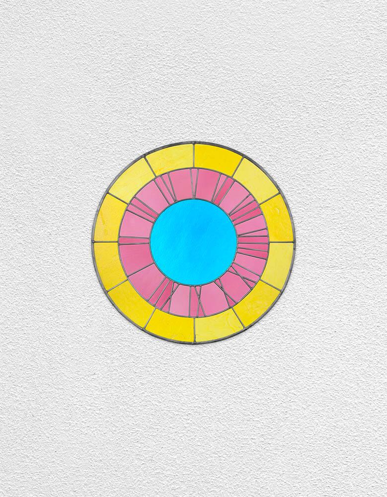 yellow pink blue clock | UGO RONDINONE
